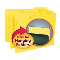 Smead Interior File Folder, 1/3-Cut Tab, Letter Size, Yellow, (10271)