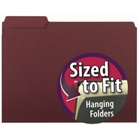 Smead Interior File Folder, 1/3-Cut Tab, Letter Size, Maroon, (10275)