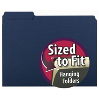 Smead Interior File Folder, 1/3-Cut Tab, Letter Size, Navy, (10279)