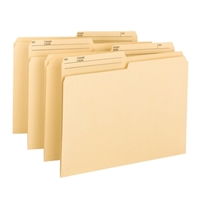 Smead 11pt Top Tab Folders, 100% Recycled Manila, Letter Size, No Fasteners, 1/2 Cut Tab 2nd Position, 100/Bx (10329)