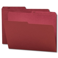Smead Reversible File Folder, 1/2-Cut Printed Tab, Letter, Maroon, 100/Bx (10369)