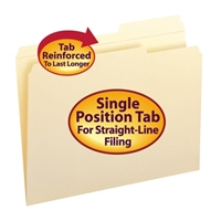 Smead File Folders, Reinforced 2/5-Cut Right Position Tab (10386)