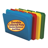 Smead Poly Colored File Folders, Letter, Assorted (10500)