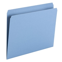 Smead File Folder, Straight Cut, Letter Size, Blue, 100/Bx (10935)