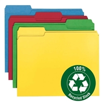 Smead 100% Recycled Colored Folders Assorted Colors (12008)