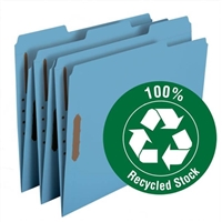 Smead 100% Recycled Fastener File Folder, 2 Fasteners, Blue (12041)