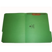 Smead 12134-F1 Colored Fastener Folders, Letter Size, 1/3-Cut Reinforced, Fastener Pos 1, 11pt Green, 50/Box