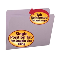 Smead File Folder, Reinforced Straight-Cut Tab, Lavender (12410)