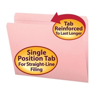 Smead File Folder, Reinforced Straight-Cut Tab, Letter Size, Pink (12610)