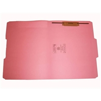 Smead 12634-F1 Colored Fastener Folders, Letter Size, 1/3-Cut Reinforced, Fastener Pos 1, 11pt Pink, 50/Box