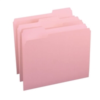 Smead File Folder, 1/3-Cut Tab, Letter Size, Pink, 100/Box (12643)
