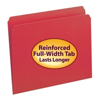 Smead File Folder, Reinforced Straight-Cut Tab, Letter, Red (12710)
