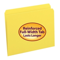 Smead File Folder, Reinforced Straight-Cut Tab, Letter, Yellow (12910)