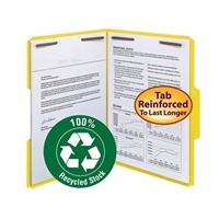Smead 100% Recycled Fastener File Folder, 2 Fasteners, Yellow (12941)