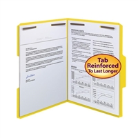 Smead WaterShed/CutLess Fastener Folders Yellow (12942) Box of 50
