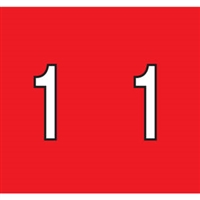 Kardex Tenscan Numeric Label, Number 1, 1-1/2 x 1-1/4, Red, 500/RL