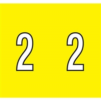 Kardex Tenscan Numeric Label, Number 2, 1-1/2 x 1-1/4, Yellow, 500/RL