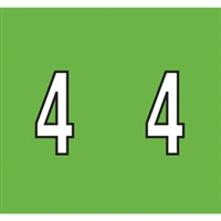 Kardex Tenscan Numeric Label, Number 4, 1-1/2 x 1-1/4, Green, 500/RL