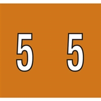 Kardex Tenscan Numeric Label, Number 5, 1-1/2 x 1-1/4, Brown, 500/RL