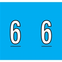 Kardex Tenscan Numeric Label, Number 6, 1-1/2 x 1-1/4, Blue, 500/RL