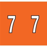 Kardex Tenscan Numeric Label, Number 7, 1-1/2 x 1-1/4, Orange, 500/RL