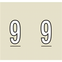 Kardex Tenscan Numeric Label, Number 9, 1-1/2 x 1-1/4, Tan, 500/RL