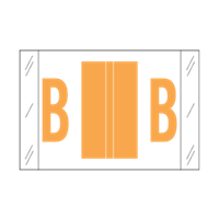 Tab Alpha Code Labels Letter B Fluorescent Orange 14102