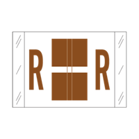 Tab Alpha Code Labels Letter R Brown 14118