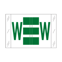 Tab Alpha Code Labels Letter W Dark Green 14123