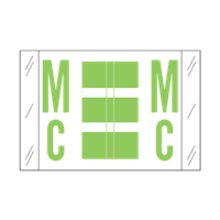 Tab Alpha Code Labels Letter Mc Fluorescent Green 14127