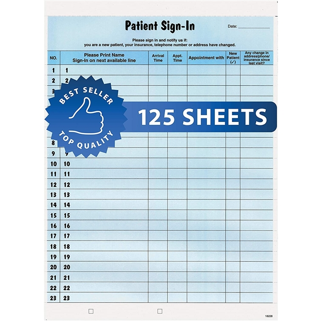 Patient Sign-In Label Forms Bilingual 125/Pack