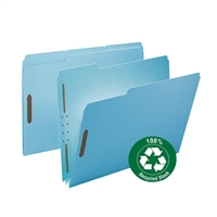"Smead 100% Recycled Pressboard Fastener Folder, 2"" Exp Blue (15001)"