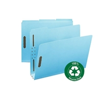 Smead 100% Recycled Pressboard Fastener File Folder, Blue (15002)