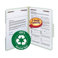 "Smead 100% Recycled Pressboard Fastener File Folder, 1"" Exp (15003)"