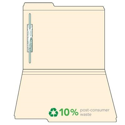 Manila Top Tab File Folders, 1/3-Cut (1st Position), One Fastener, 50/Box