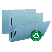 "Smead 100% Recycled Pressboard Fastener File Folder, 1/3-Cut Tab, 1"" Expansion, Legal Size, Blue, 25/Bx (20000)"