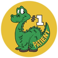 "Children's Stickers, #1 Patient - Dino, Green, 1-3/4"" Circle, 100/Roll"