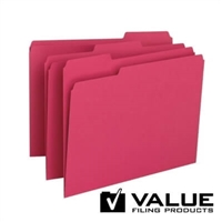 File Folder, 1/3-Cut Tab, Letter Size, Red, 100/Bx (21124)
