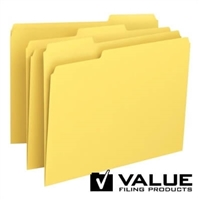 File Folder, 1/3-Cut Tab, Letter Size, Yellow, 100/Bx (21125)