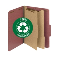 100% Recycled Pressboard Classification File Folder, Red (14024)