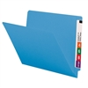 "Smead Colored End Tab Folders, Letter Size, 3/4"" Exp, No Fastener, 11pt Blue, 100/Bx"