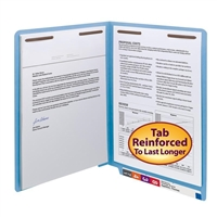 "Smead Colored End Tab Folders, Letter Size, 3/4"" Exp, Fastener Pos 1/3, 11pt Blue, 50/Bx"