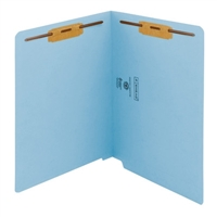 "Smead Colored End Tab Folders, Letter Size, 3/4"" Exp, Fastener Pos 1/3, 11pt Cutless Blue, 50/Bx"