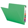 "Smead Colored End Tab Folders, Letter Size, 3/4"" Exp, No Fastener, 11pt Green, 100/Bx"