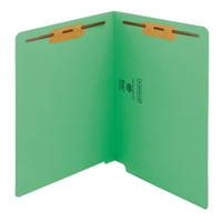 "Smead Colored End Tab Folders, Letter Size, 3/4"" Exp, Fastener Pos 1/3, 11pt Green, 50/Bx"