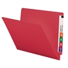 "Smead Colored End Tab Folders, Letter Size, 3/4"" Exp, No Fastener, 11pt Red, 100/Bx"