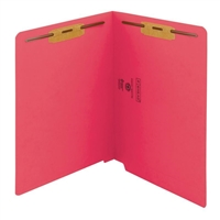 "Smead Colored End Tab Folders, Letter Size, 3/4"" Exp, Fastener Pos 1/3, 11pt Red, 50/Bx"