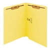 "Smead Colored End Tab Folders, Letter Size, 3/4"" Exp, Fastener Pos 1/3, 11pt Yellow, 50/Bx"