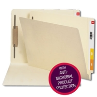 Smead End Tab Fastener Folder with Antimicrobial, Manila (34113)