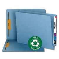 Smead 100% Recycled End Tab Fastener File Folder, Blue (34170)